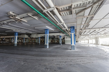 Parking garage interior, industrial building,Empty underground p