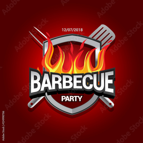 Quot Barbecue Party Design With Fire On Shield Barbecue