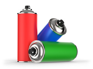 Spraydosen rot, grün, blau