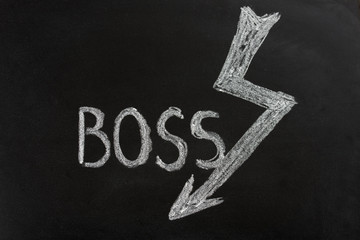Hand drawn word Boss with drawn lightning in chalk on the blackboard. Angry, furious boss/ manager/ businessman. Blackboard. Hand drawing cartoon. Closeup.