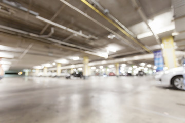 Blurred image, Parking garage  interior underground parking with