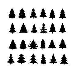 Christmas tree silhouette design vector set.