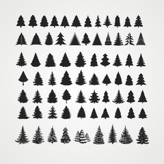 Christmas tree silhouette design vector set