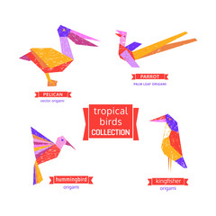 Set of tropical bird  icons.  Freehand drawn cartoon stylized emblem. Template of logo design. Colorful symbol sign isolated on white. Textured grunge element banner background. Vector illustration
