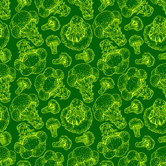 seamless green sketch broccoli
