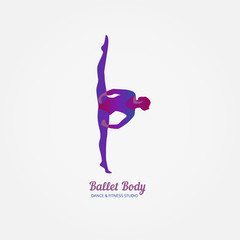 Dance icon concept. Body Ballet studio design template. People character logo. Fitness class banner background with symbol of abstract ballerina in dancing poses. Vector illustration.