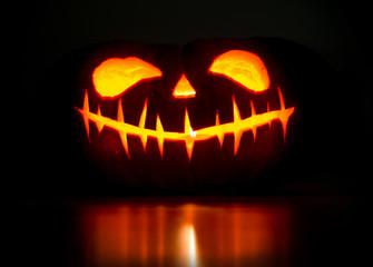 halloween  pumpkin with luminous face