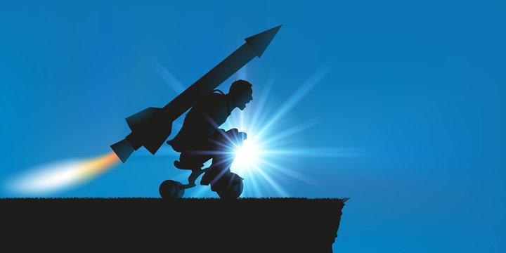 Concept de la volonté inaltérable avec un homme motivé qui se lance en direction d'une falaise à cheval sur un tricycle, en espérant s'envoler grâce à une fusée