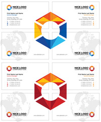 creative business cards with multicolored hexagon, oil and gas cards template, white background