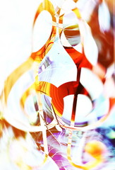 abstract music theme background with clef, modern design. Clef in sun light and blur effect.