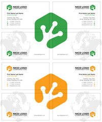 frog footprint business cards, white green yellow colors, with a global world map