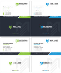 m and e letters business cards, dark blue, green and blue colors