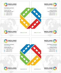 film business card, white red yellow green colors