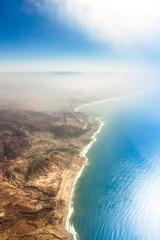 Obraz Widok z samolotu wzdłuż linii brzegowej, Maroko - Ocean Atlantycki - Afryka - fototapety do salonu