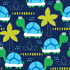 seamless cute turtle pattern vector illustration