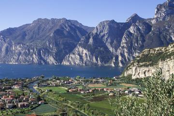 mountain lake Garda, a Aerial View on a sunny day