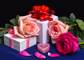 Gift Boxes with Bows, Roses and Candle.