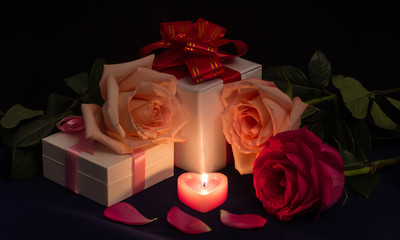 Romantic greeting card: bunch of roses and candles