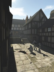 Future Space Marines in a Medieval Town - science fiction fantasy illustration