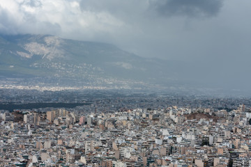 Aerial view of Athens from mount Lycabettus at cloudy day