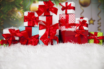 Gift box with red ribbon, Holiday Christmas background