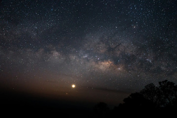 milky way galaxy on sky in dark night
