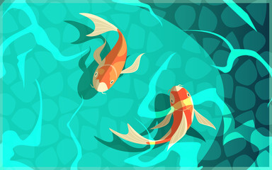Koi Carp Japanese Culture Cartoon Illustration