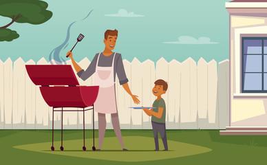 Picnic Barbecue Father Son Cartoon Poster