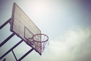Basketball hoop in public area