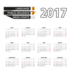 Calendar 2017 on Spanish language. With Public Holidays for Spain in year 2017. Week starts from Monday. Simple Calendar. Vector Illustration.