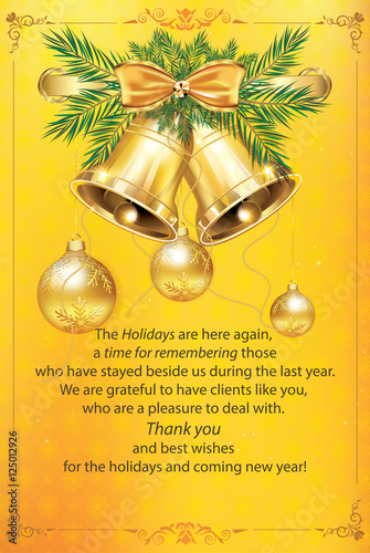 new year business greeting card warm holiday season post card contains christmas balls