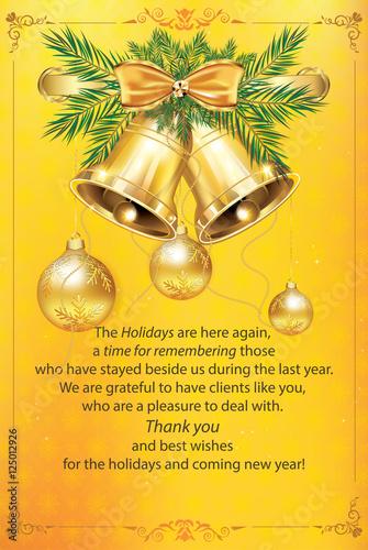 new year business greeting card warm holiday season post card contains christmas balls