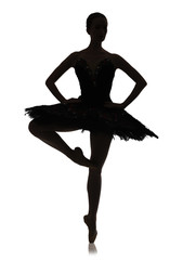 Ballerina silhouette making ballet position pirouette against white background, isolated
