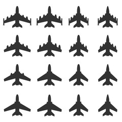 Airplane Icon, Figther Plnae Jet Missile Vector illustration icon set
