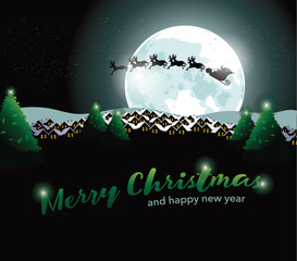 Santa Claus flying through the night sky. With Merry Christmas and Happy New Year text. EPS 10 vector.