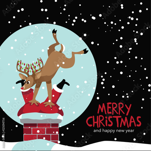 Quot Merry Christmas Reindeer Trying To Stuff Stuck Santa