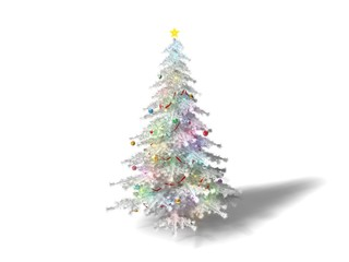 3d illustration of christmass tree. conceptual white design.