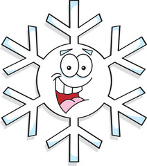 Cartoon illustration of a snowflake.