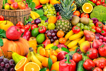 Large collection of fruits and vegetables. Healthy foods.