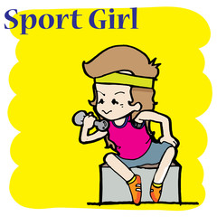 sport girl illustration cartoon character