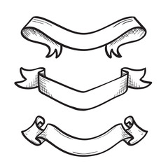 Hand drawn sketch ribbons