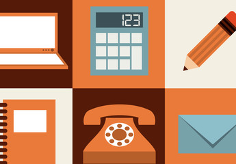 Modern and Retro Tech and Office Supplies Icon Set