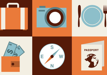 Modern and Retro Vacation and Travel Icon Set