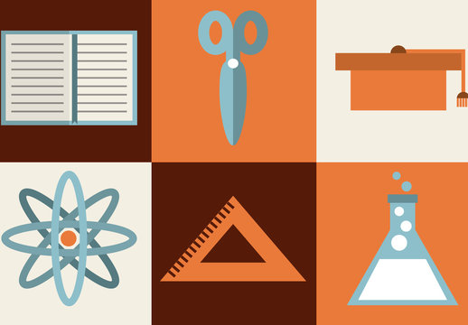 Modern and Retro School Supplies and Tools Icon Set