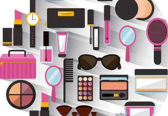Makeup and Accessories Icon Patterned Circle with Drop Shadow