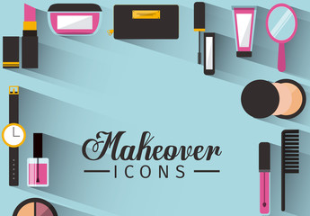 Makeup and Accessories Icon Border on Blue Background with Text Element