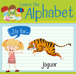 Flashcard letter J is for jaguar