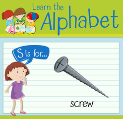 Flashcard letter S is for screw