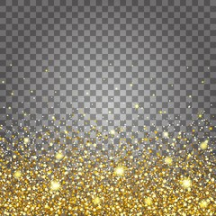Effect of flying parts gold glitter luxury rich design background. Light gray background bottom. Stardust spark the explosion on a transparent background
