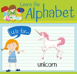 Flashcard alphabet U is for unicorn